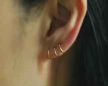 14K Solid Gold Earring, 14k gold hoop earrings,Cartilage Hoop Earrings,Cartilage Earrings,Nose Ring,piercing earring,Helix,Tragus,Ear Lobe