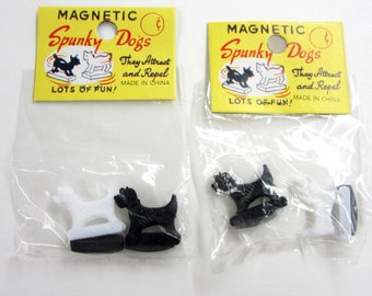 6 Packages = MAGNETIC SPUNKY DOGS= New/ Old Stock = Black & White Scottie  Dogs
