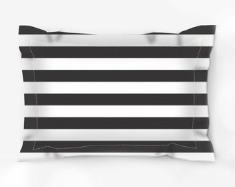 """Black and White Stripes Pillow Sham/ Brushed Polyester 30""""x22"""" or 38""""x 22"""""""
