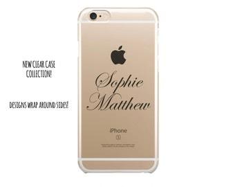 5050 // Clear Case Custom Black Curly Name Monogram Customize Personalize iPhone 6 Case iPhone 6 Plus Case