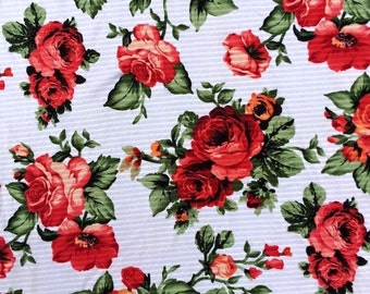 Red Floral - Poly Spandex - By The Yard