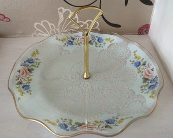 Glass Cake Stand/Cookie Stand - Single Tier Stand - Delicate Lace Design with Floral Border