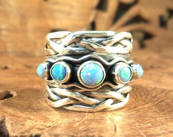 Sterling Cigar Fusion Ring -  Blue fire Opal & Sterling Silver Women's Ring, size 8.5