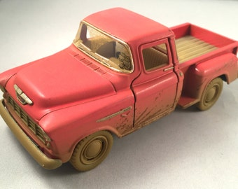 """1955 """"CHEVROLET CHEVY"""" Stepside Pick-Up, metal toy car model. Lovely collectible item!"""