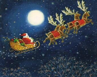 "4.25"" x 4.25 "" Ceramic Accent Tile- Santa in Flight"