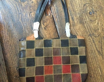 SALE WAS 15 1960s Leather Patchwork Shoulder Bag.