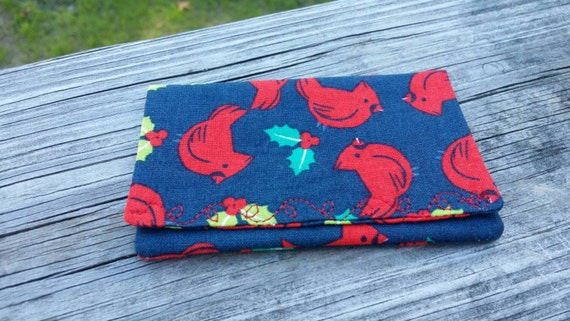 Cardinal Chistmas Gift Card Holder/Bird  Holiday Gift Money Holder/  Bird Gift Card Wallet / Gift Card Holder Fabric Envelope Earbuds Holder
