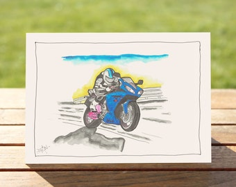 """Motorcycle Gift Card, Blue Sportsbike 