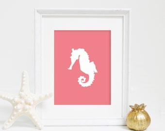 Coral Seahorse Print, Nursery Decor, Summer Decor, Ocean Print, Seahorse Wall Art, Nautical Decor, Coastal Prints, Coral Seahorse, Printable