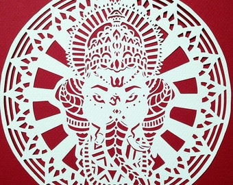 Ganesh Wall Art Original, Lord Ganesha Art, Hindu Artwork, Ethnic, Spiritual, Mandala, Elephant God, handmade papercut