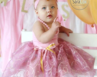 Mommy Miss Lily Dress Photo Prop Pink/Gold Sheer