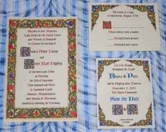 Classic Renaissance, Medieval, Tudor, Borgia, Fantasy Wedding Invitation Suite Sample