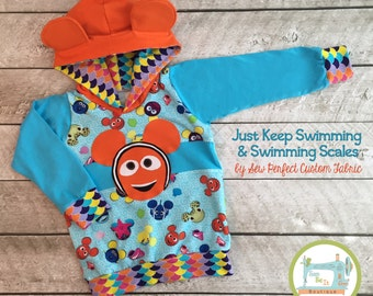 SALE Size 2T/3T All Ears Hoodie - Just Keep Swimming (Reg. Price 50)
