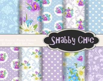 INSTANT DOWNLOAD Shabby Chic Flower Digital Scrapbook Paper, Blue Purple Flower Digital Paper Pack, Shabby Chic Printable Paper 00233