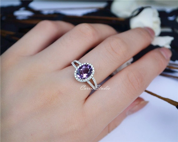 Natural Amethyst Ring Amethyst Engagement Ring Wedding Ring