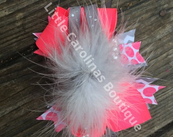 Double Stacked Boutique Bow with feathers