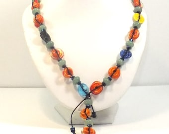 Carnivale Necklace – Handmade Lampwork Glass Discs, Aventurine, Waxed Cotton