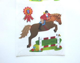 Sandylion Equestrianism Horse/ Horse Back riding Sparkly Stickers - 3 repeat squares