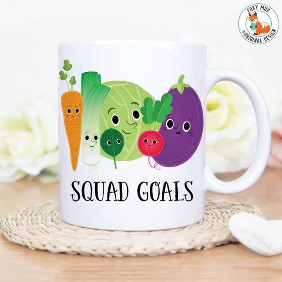 Coffee Mug Squad Goals Veggie Coffee Cup - Great Gift for Vegan or Vegetarian - Funny Mug