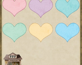 6 Cute Patchwork Quilting Hearts PNG *Instant Download*