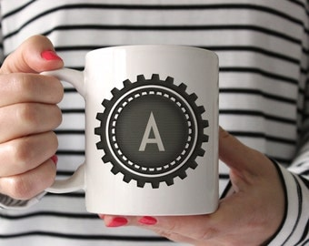 26 Black Gear Cogs Alphabet Monogram Sublimation Mug Templates A-Z
