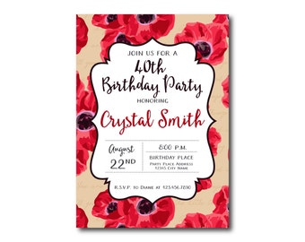 40th Birthday Invitations for Her with Red Flowers and Sand Color Background, Adult Party Invitations, Colorful Name Day Invitation
