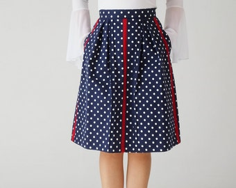 Unique cotton midi skirt, pleated,  with pockets, knee length, high waist, dotted, dark blue, red, polka dots, on-of-a-kind, unique