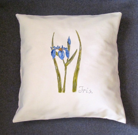 PILLOW. Hand-painted pillow, Iris, colours; cream, blue, green, yellow, unique pillow, Ready to ship.