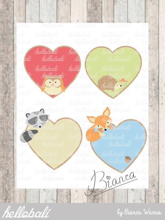 Printable Valentine Card PDF File Woodland Valentine Label Set
