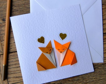 Origami Foxy Love.  Anniversary, Wedding, Engagement, Birthday I Love you: Origami greeting card.