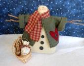 Firewood Seller Snowman Doll Holiday Decor