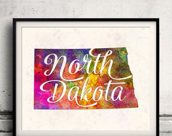North Dakota - Map in watercolor - Fine Art Print Glicee Poster Decor Home Gift Illustration Wall Art USA Colorful - SKU 1751