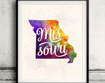 Missouri - Map in watercolor - Fine Art Print Glicee Poster Decor Home Gift Illustration Wall Art USA Colorful - SKU 1760