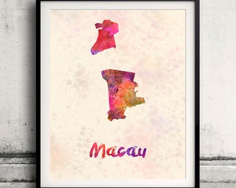Macau - Map in watercolor - Fine Art Print Glicee Poster Decor Home Gift Illustration Wall Art Countries Colorful - SKU 1822
