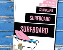 Beyonce Surfboard, Valentines Day Card, Thinking of you card, Cute anniversary card, cheeky cards