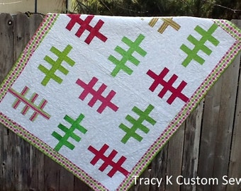 Pink and Green Ladder Queen Size Quilt