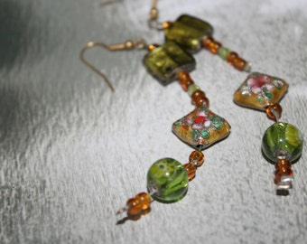 Swarovksi Earrings/ Green earrings/Dangle earrings/OOAK
