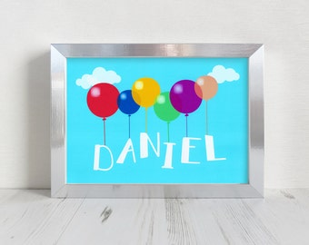 Personalised Balloon Name Framed Print