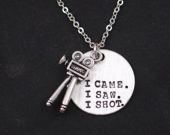 I Came I Saw I Shot necklace, hand stamped necklace with movie camera charm, photographer gift, camera quotes, camera charm necklace