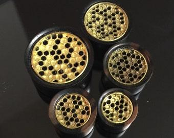 Ebony wood plugs gauges with brass honeycomb