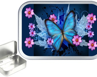 Blue Butterfly 1oz silver hinged tobacco tin,pill box,storage tin