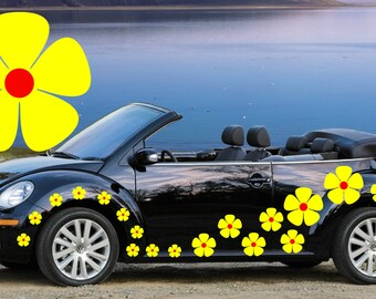 32,yellow & red pansy flowers car decals,stickers in three sizes