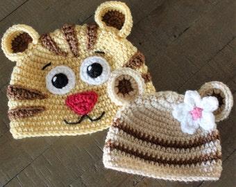 Daniel Tiger and Margaret Crochet Hats - Newborn to Adult - Handmade to Order