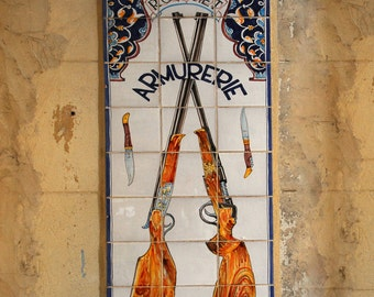 Color Photograph, Provence,  France, Crossed Guns, Tile Sign