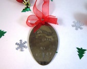 Eat Drink Be Merry Upcycled Spoon Decoration Tree Ornament Hand Stamped Red Ribbon UK