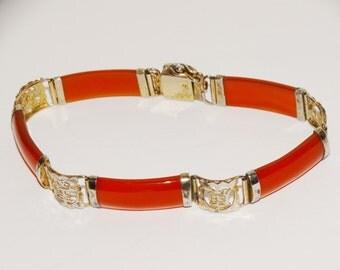 1960's Chinese Silver Stamped Jade 7.5 Bracelet