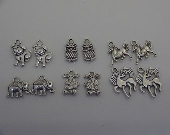 12 silver plated accorted animals charms pendants DIY bracelets and necklaces jewellery making charms