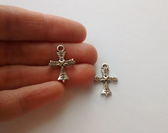 2 silver plated cross charms pendants DIY bracelets and necklaces jewellery making charms religious