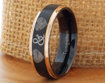 Tungsten Fingerprint  Ring 7mm Black And Rose Gold Tungsten Wedding  Ring Anniversary Ring Comfort Fit Mens His Hers Two TonePromise Band