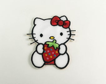 Hello Kitty&Strawberry Iron on Patch (L2)-Hello Kitty Cartoon Applique Embroidered Iron on Patch- Size 7.1x8.2 cm#